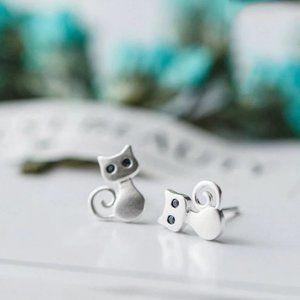 NEW 925 Sterling Silver Cut Cat Stud Earrings